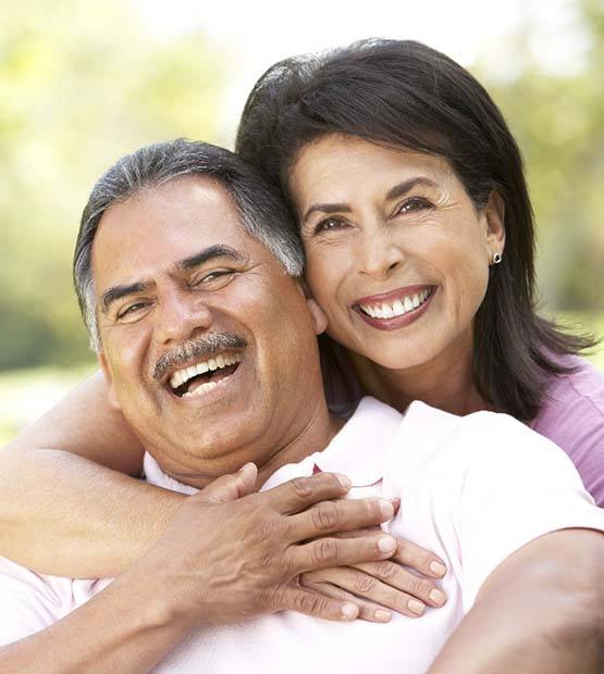 3 D rendering of implant supported dental crown within smile