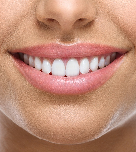 Closeup of beautiful smile after teeth whitening