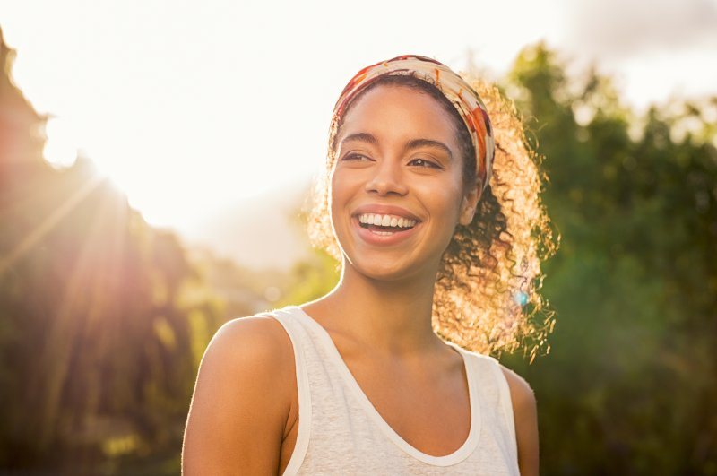 Woman smiling with straight, bright teeth